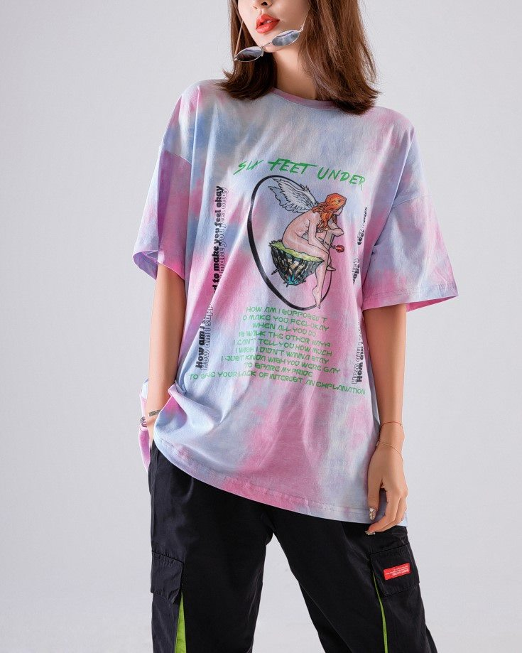 《2色》マーブルタイダイエンジェルTシャツの画像6